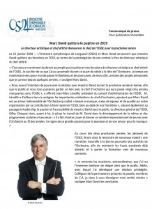 Communiqué OSDL 15 janvier 2018